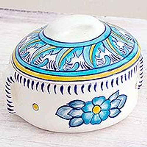 Artisan Crafted Floral Ceramic Soup Bowl with Lid 'Bermuda'