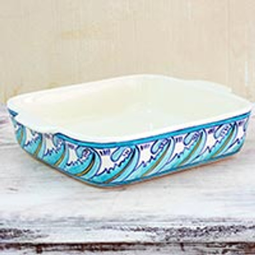 10 by 8 Inch Handcrafted Ceramic Baking Dish from Guatemala 'Quehueche'