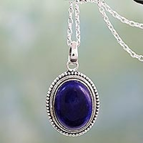 Lapis Lazuli Pendant on Artisan Crafted 925 Silver Necklace 'True Clarity'