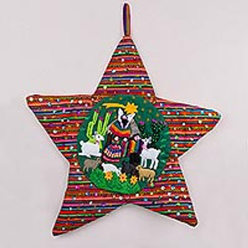 Handcrafted Andean Christmas Star Applique Wall Hanging 'Andean Christmas Star'