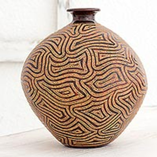 Handcrafted Decorative Ceramic Vase with Geometric Motifs 'Expansive Thoughts'