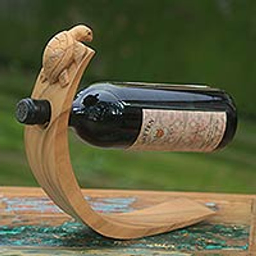 Balinese Sea Turtle Brown Wood Wine Bottle Holder 'Brown Balinese Turtle'