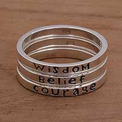 3 Inspirational Balinese Sterling Silver Stacking Rings 'Wisdom Belief Courage'