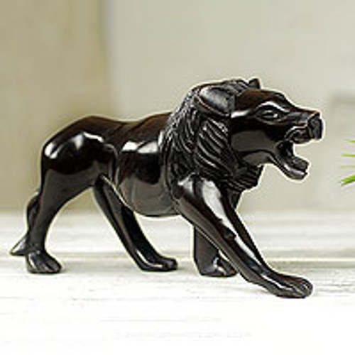 Mighty African Lion Hand Carved Ebony Wood Sculpture 'Lion Prowl'