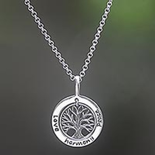 Sterling Silver Tree Pendant Necklace from Indonesia 'Hope Tree'