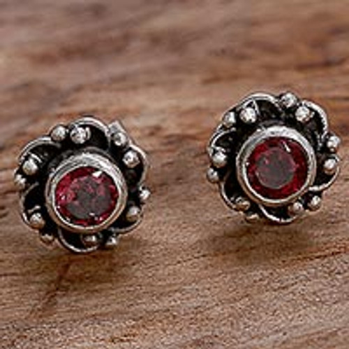 Hand Made Garnet and Sterling Silver Flower Stud Earrings 'Little Happiness in Red'