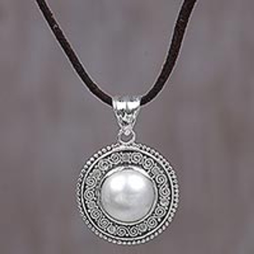Cultured Mabe Pearl and Leather Cord Pendant Necklace 'White Orb'