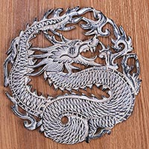 Circular Dragon Suar Wood Wall Relief Panel from Indonesia 'Antaboga Rage'