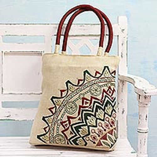Floral Embroidered Jute Blend Tote in Alabaster from India 'Kolkata Bouquet'