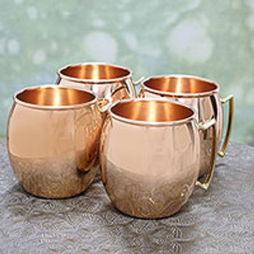 Four Hand Crafted Copper and Brass Handled Mugs from India 'Classic Tavern'