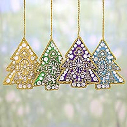 4 Tree Shaped Multicolored Embroidered Ornaments from India 'Colorful Holiday'