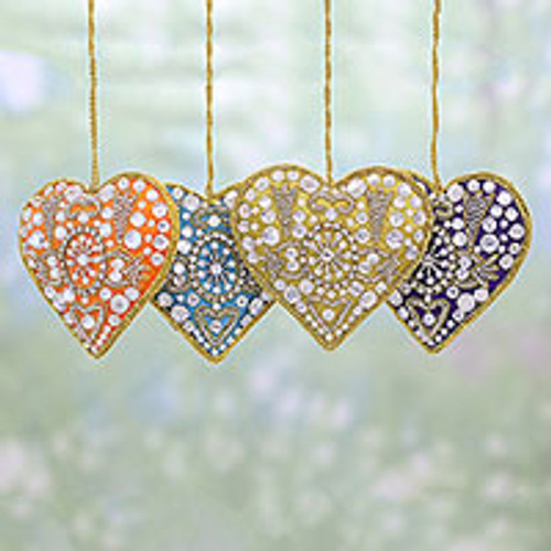 4 Heart Shaped Multicolored Embroidered Ornaments from India 'Colorful Hearts'