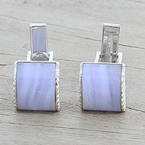 Blue Lace Agate Silver 925 Cufflinks by Indian Artisans 'Subtle Blue Waves'