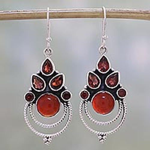 Garnet and Carnelian Dangle Earrings by Indian Artisans 'Radiant Harmony'