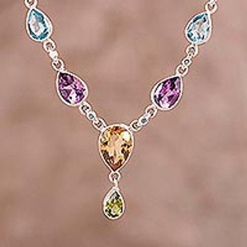 Rainbow Bliss Sterling Multi-Gemstone Pendant Necklace 'Rainbow Bliss'