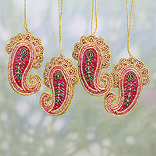 Set of Four Beaded Paisley Ornaments from India 'Brilliant Paisleys'