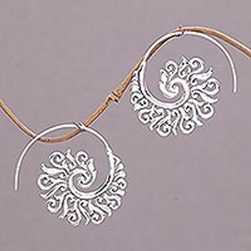 925 Sterling Silver Half Hoop Earrings from Indonesia 'Spiral Beauty'
