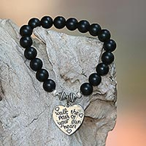 Black Onyx and Heart Charm Beaded Bracelet from Bali 'Path of Love in Matte'