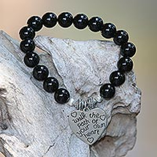 Onyx and 925 Silver Beaded Heart Stretch Bracelet from Bali 'Path of Love'
