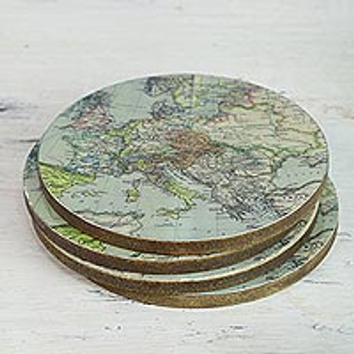 Handcrafted Set of 4 Indian Wood Coasters with Map of Europe '17th Century Europe'