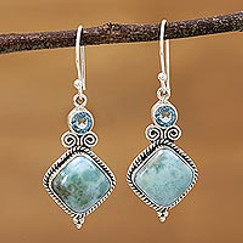 Blue Topaz and Larimar Sterling Silver Dangle Earrings 'Pastel Seas'