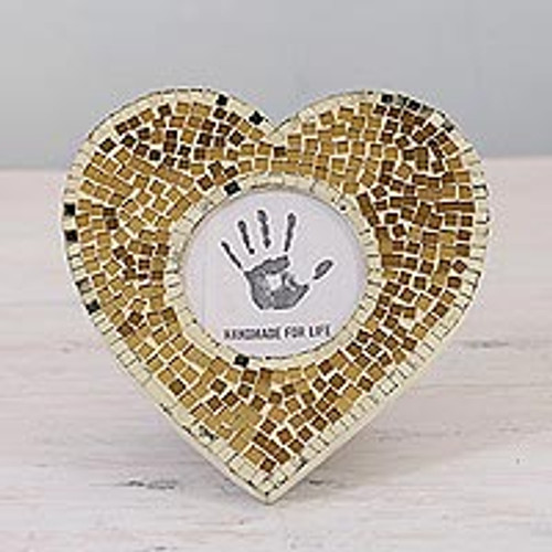 3 in. Heart-Shaped Glass Mosaic Photo Frame from India 'Wistful Memories'