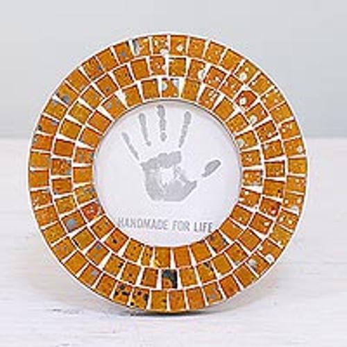 4 Inch Circular Orange Glass Mosaic Photo Frame from India 'Bubbling Memories'