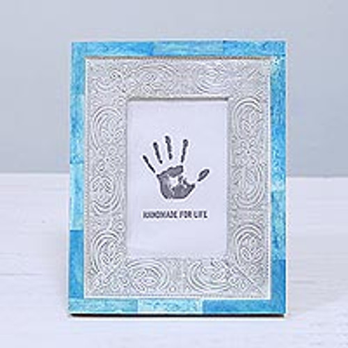 4x6 Handcrafted Bone and Aluminum Photo Frame from India 'Don't Be Blue'