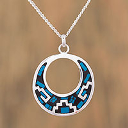 Geometric Turquoise Pendant Necklace from Mexico 'Window of History'