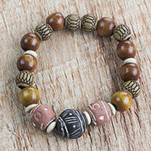 Wood Terracotta Recycled Plastic Beaded Stretch Bracelet 'Earth Circle'