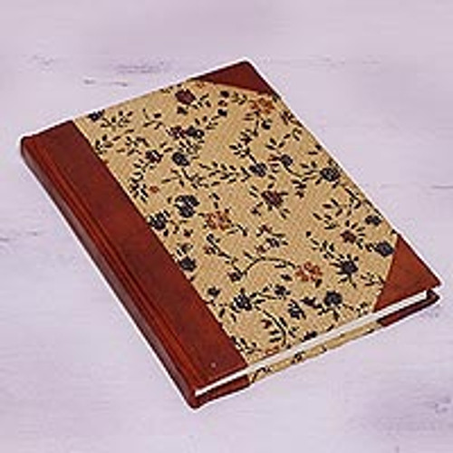 Handcrafted Floral Leather Accent Jute Journal from India 'Flowering Memories'