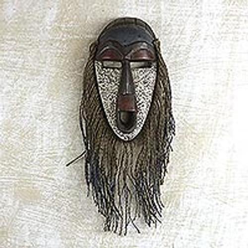 Jute Bearded African Wood Mask from Ghana 'Abajo'