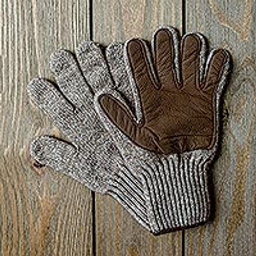 Knit Merino and Bison Leather Gloves 'Winter Expedition'