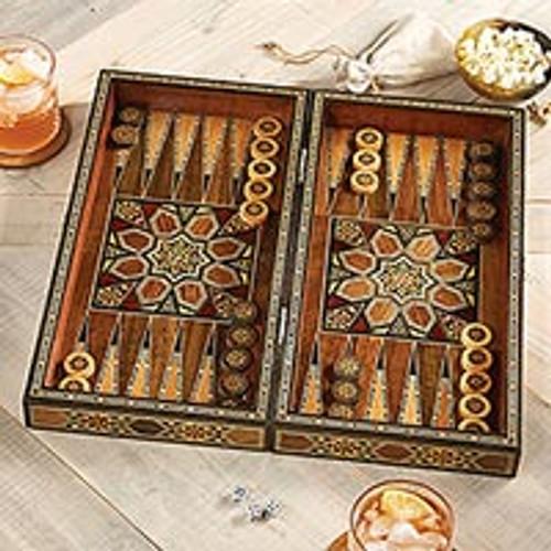 Mosaic Wood-inlaid Backgammon Set 'Mesopotamian Match'
