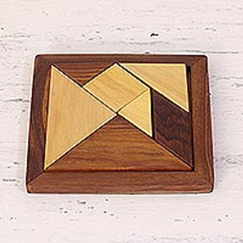 Handcrafted Geometric Wood Puzzle from India 'Geometric Muse'