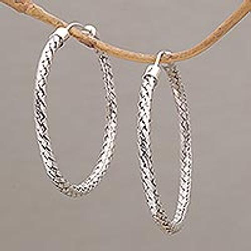 Woven Silver Endless Hoop Earrings (1.7 Inch) 'Celuk Circles'