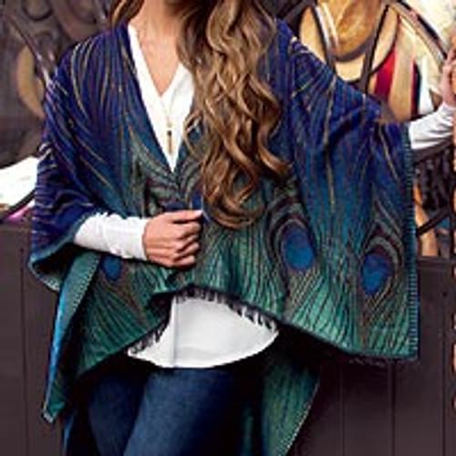Mayura Wool Blend Wrap with Peacock Motif 'Mayura Sapphire'