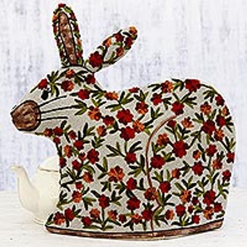 Indian Chain Stitched 100% Wool and Cotton Rabbit Tea Cozy 'Hopping Rabbit'