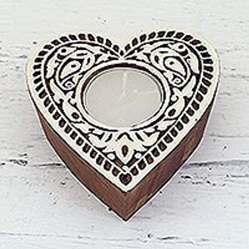 Heart Shaped Mango Wood Tealight Holder from India 'Burning Heart'