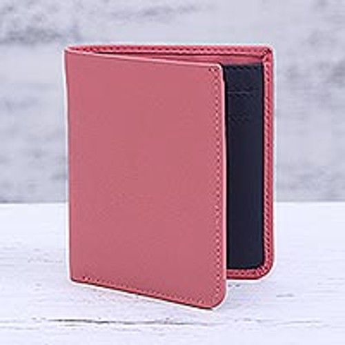 Pink Leather Bifold Wallet Handmade in India 'Noble Rose'