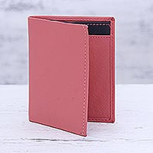 Pink Leather Card Holder Wallet from India 'Plush Passion'