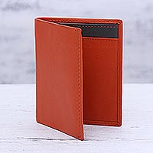 Red Leather Card Holder from India 'Fiery Passion'