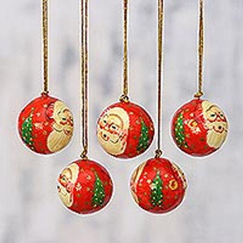 5 Santa Claus Ornaments Handcrafted in Papier Mache 'Laughing Santa Claus'