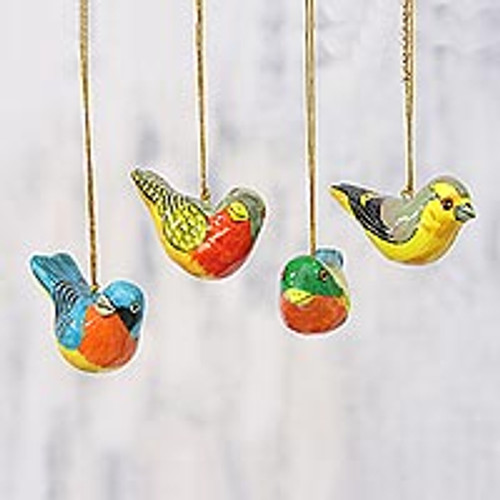 Four Colorful Papier Mache Bird Ornaments from India 'Chirping Sparrows'