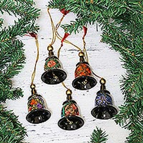 Papier Mache Bell Ornaments (Set of 5) from India 'Bells of Kashmir'