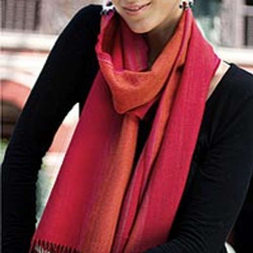 Alpaca Blend Scarf in Paprika and Carrot from Peru 'Rioja Flavor'