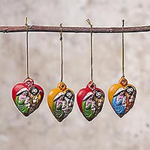 Four Heart-Shaped Ceramic Nativity Ornaments from Peru 'Nativity Hearts'