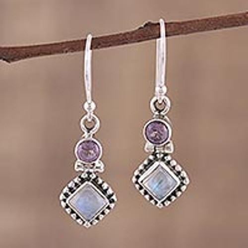 Handmade Multi-Gemstone Sterling Silver Dangle Earrings 'Enchanting Duo'