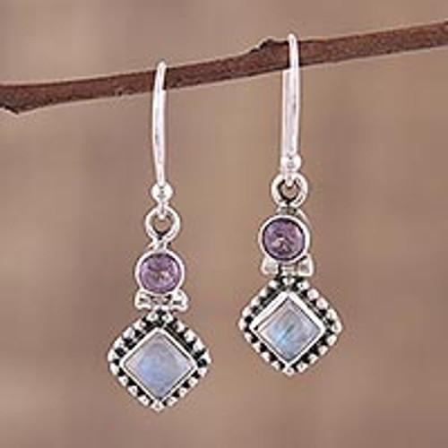 Handmade Multi-Gemstone Sterling Silver Dangle Earrings 'Enchanting Duo'