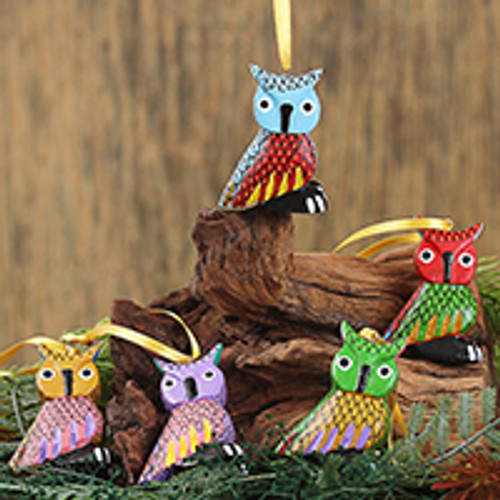 Painted Wood Alebrije Owl Ornaments (Set of 5) from Mexico 'Sweet Owls'